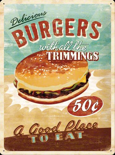 Metalowy plakat szyld blacha tin signs reklama usa smaczne hamburgery ze wszystkimi dodatkami - Decoratie pizzeria ...