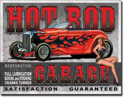 Metalowy plakat reklamowy blacha tin sign USA pin up girl Hot Rod Garage satysfakcja gwarantowana Prezent # 1626