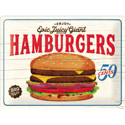 Metalowy plakat szyld blacha tin signs reklama USA Epic jucy giant hamburgers Prezent