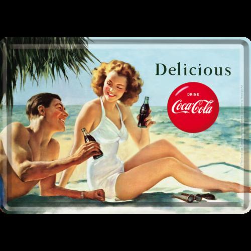 Pij Pyszną Coca Cola Metalowy Mini Szyld 15x10 Cm Stara