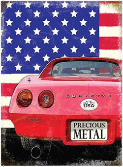 Metalowy plakat reklamowy blacha tin sign Chevrolet Corvette Precoius Metal Prezent