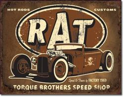 Metalowy plakat reklamowy blacha tin sign USA Rat Rod Salon Braci Torque Prezent  #1783