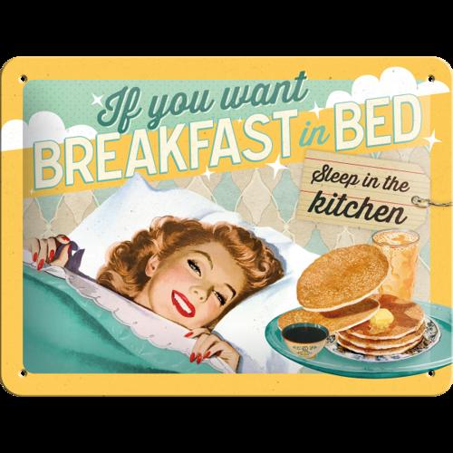 Metalowy Plakat Mały Szyld Tin Sign Jeśli Czekasz Na śniadanie