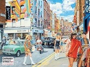 Metalowy Plakat Reklamowy Blacha Tin Sign 40x30 Cm Londyńska Carnaby Street Lata 60 Te