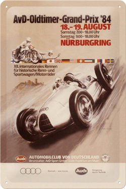 Metalowy plakat szyld blacha tin signs Audi AvD Oldtimer Grand Prix 1984