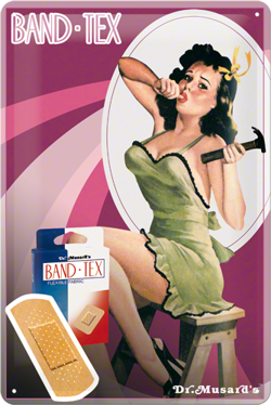 Metalowy szyld blacha tin signs pin-up girl  plastry Band-tex Prezent